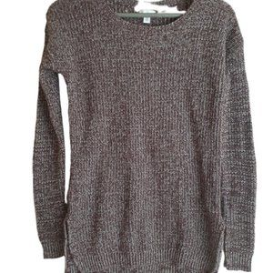BP purple white knit sweater high low hem xs